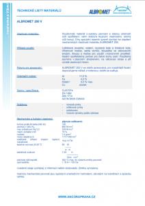technické listy matriálů albromed